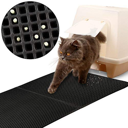 """FREESOO Estera de Arena para Gatos Impermeable Alfombra de Basura rascadores Cat Litter Mat Litter Trapping Doble Capa no Tóxico 28""""X 21"""""""