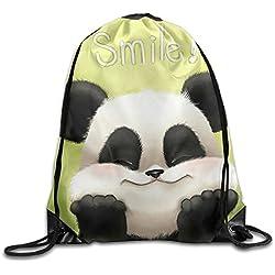Yesliy S Smile Panda Bolsas con cordón para mochila portátil de viaje, deporte, gimnasio, yoga, correr, mochila
