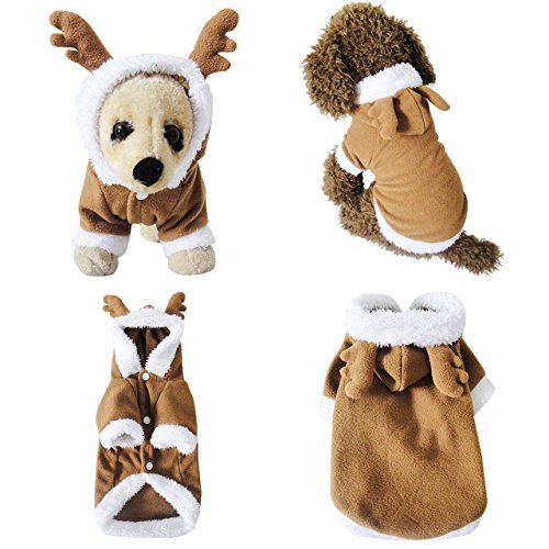 Mogoko Dog Cat Christmas Reindeer Costume, Funny Pet Elk Costumes Cosplay Dress, Puppy Fleece Outfits Warm Hoodie Animal Festival Apparel Clothes (L ()