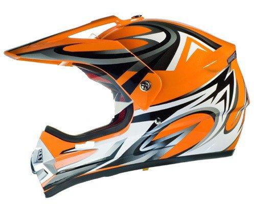 casco per moto da cross arancio rancione ktm