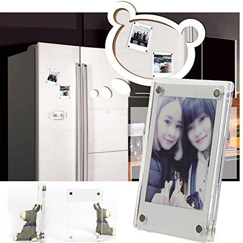 Glas Kühlschrank Magnete, 2PCS/set Acryl Kühlschrank magnetischen Rahmen, doppelseitige Foto Magnet Kühlschrank magnetischen Aufkleber Telefon Drucker Fotos Bilderrahmen aus Acryl, 2pcs (Magnet-rahmen Für Kühlschrank)