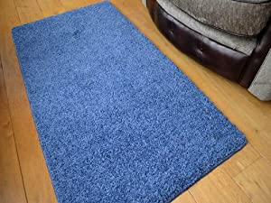 Denim Blue Machine Washable Thick Soft Shaggy Rug. Available in 6 Sizes. from Rugs Supermarket