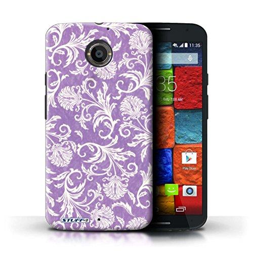 Kobalt® Imprimé Etui / Coque pour Motorola Moto X (2014) / Fleurs Vertes conception / Série Fleurs Fond Violet