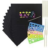 ETSAMOR Kratzbilder 20 Blätter Kratzpapier Scratch Art mit 4 Pcs Schablonen und 10 Pcs Holzstiften für Kinder zum Malen und Zeichnen