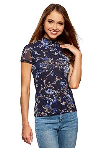 oodji Collection Damen Bedrucktes Kurzarmshirt mit Rollkragen, Blau, DE 38/EU 40/M (Rollkragen-shirts Kurzarm)