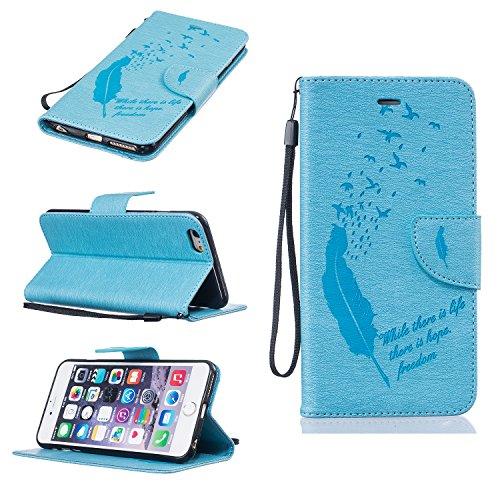 Housse iPhone SE / 5 / 5S, SpiritSun Etui en PU Cuir Portefeuille Coque pour Apple iPhone SE / 5 / 5S Plume et Oiseaux Modèle Case avec Fonction Support Stand - Gris Bleu