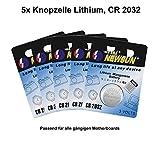 Batterie Knopfzelle 3 Volt CR 2032 für z.B. CMOS für alle gängigen PC-Mainboards (5 Stück)