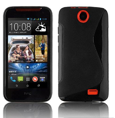 Cadorabo Hülle für HTC Desire 310 Hülle in Handyhülle aus flexiblem TPU Silikon im S-Line Design Silikonhülle Schutzhülle Soft Back Cover Case Bumper Oxid Schwarz
