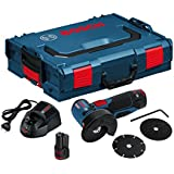 Bosch GWS 12V-76 Professional - Amoladora angular a batería con accesorios (19500 rpm, 12 V, discos, 2 baterías 2,5 Ah, cargador + L-BOXX), color negro y azul