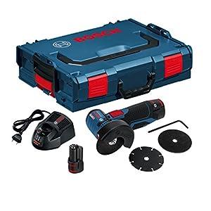 Bosch GWS 12V-76 Professional – Amoladora angular a batería con accesorios (19500 rpm, 12 V, discos, 2 baterías 2.5 Ah, cargador, L-BOXX)