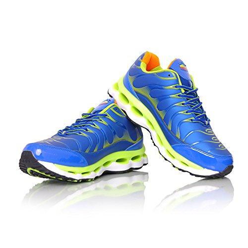 MForshop scarpe da ginnastica uomo running fitness sport sportive palestra corsa 9127 blu/verde-9152