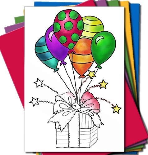 Art Eclect Grußkarten zum Ausmalen, für Geburtstage, Jahrestage und Jeden Anlass   10 Einzigartige Designs zum Ausmalen und Versenden   inkl. Briefumschlägen   Set A/Rainbow (Sympathie-karten Danke Die Für)