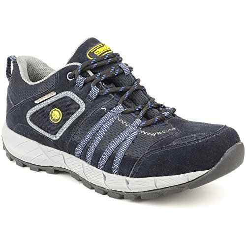 Cotswold Mens Sevenwells Lace Up Leather Walking Hiking Trainer Black Blkblu