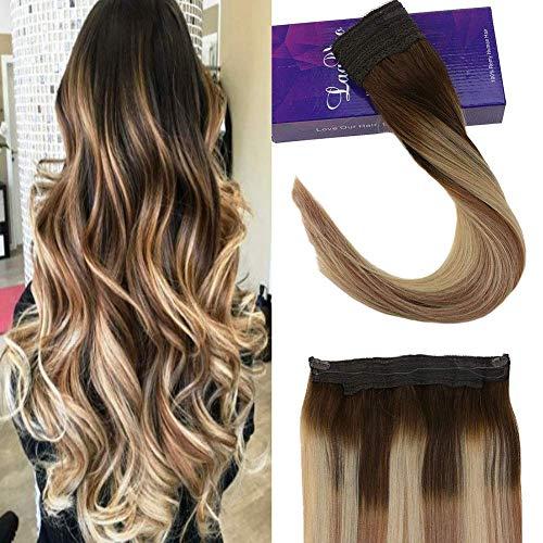 Laavoo 20pollice 100 grammi halo hair extension capelli veri con filo trasparente halo invisibile estensione marrone scuro a biondo cenere e biondo scuro miele