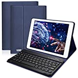 iPad Hülle Tastatur QWERTZ für 9,7 Zoll iPad 2018/2017, iPad Pro 9.7, iPad Air 2/1, iPad Bluetooth Keyboard Case mit Mulit-Angle- Ständer-Funktion Und mit Auto Schlaf/Wachen(Dunkelblau)