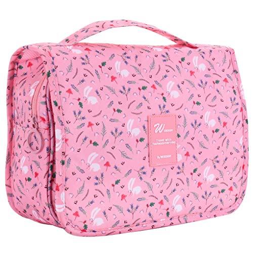 Freelynn Reise Kulturbeutel zum Aufhängen Damen Herren Klein, Kosmetiktasche für Übernachten Badezimmer Camping Gym - Hase Pink (Hängende Kulturbeutel Für Frauen)