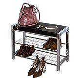 Aspecto de tres niveles de almacenamiento estante para zapatos/banco con cojín de asiento, de metal, negro