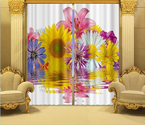 GFYWZ tenda tessuto 3D stampa resa personale della decorazione tende oscuranti alle finestre di poliestere di scenario tridimensionale di Rose , 2 , wide 2.64x high 2.41