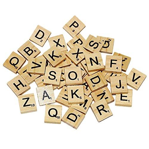 Joyibay 100Stk Scrabble Buchstaben DIY Pädagogisches Holz Handwerk Buchstaben Scrabble Fliesen Kinder Rechtschreibung Wort Fliesen
