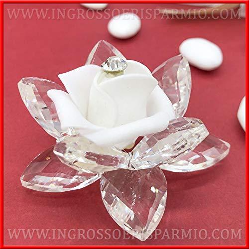 Ingrosso e risparmio fiore in cristallo decorato con una rosa bianca finta con strass, bomboniere made in italy, matrimonio, anniversario, prima comunione (senza confezionamento)