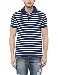 American Crew Men's Polo Stripes T-Shirt (White & Navy Melange)