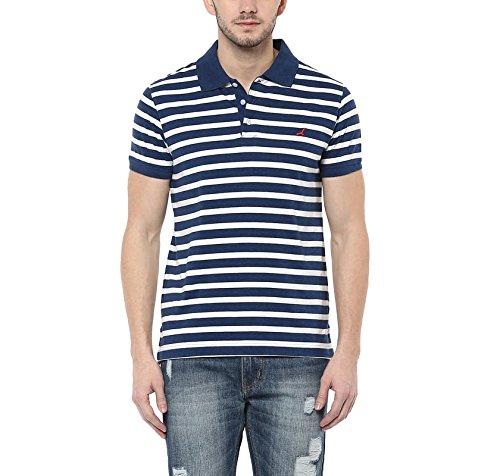 American Crew Men's Polo White & Navy Melange Stripes T-Shirt - L (AC1115-L)