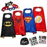 JOYZ Superhelden Kostüme für Kinder - Set mit 4 Umhängen, 4 Masken, Tattoos und Tasche - Superman / Spiderman / Batman / The Flash