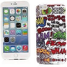 """Kit Me Out ES Funda de Gel TPU para Apple iPhone 6 Plus 5.5"""" pulgadas - Multicolor / Blanco Onomatopeyas de cómic"""