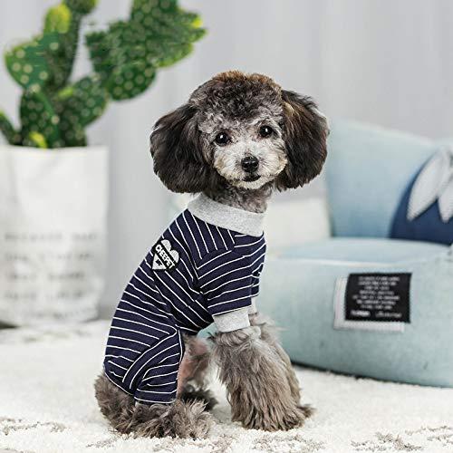 CHUANG TIANG Gestreifter Hundeschlafanzug, Hemd Mit Bodenbildung Herbst- Und Winterkleidung Für Hunde Lieben Sie Baumwollkleidung Für Haustiere Mit Vier Beinen,Schwarz,L -