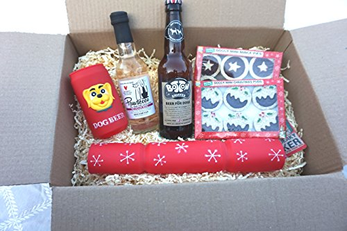 DOG CHRISTMAS GIFT HAMPER WITH DOG SAFE DOG BEER PAWSECCO WINE SQUEAKY CRACKER & BEER CHEWY MINCE PIES & XMAS PUDS