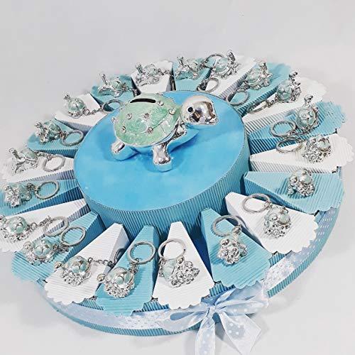 Sindy bomboniere torta bomboniera tartaruga bimbo portachiavi spedizione inclusa nascita battesimo compleanno (torta da 20 fette)