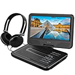 "WONNIE 10.5"" Portable DVD Player with 270° Swivel Screen Built-in Rechargeable Battery SD Card and USB, Direct Play in Formats AVI/MP3/JPEG/RMVB (10.5, Black)"