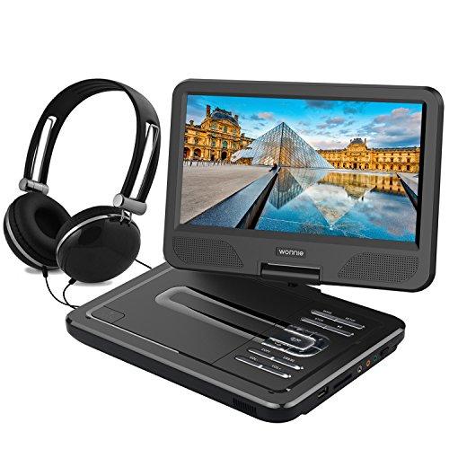 """WONNIE 10,5"""" Lecteur DVD portable avec un écran rotatif 270°, Carte SD et prise USB avec charge directe Formats / RMVB / AVI / MP3 / JPEG, Parfait pour Enfants (Noir)"""