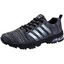 PAMRAY Zapatillas de Deportivas Para Correr Mujeres Atlético Running Air Cushion 3cm Respirable Sneakers 36-46 Negro Azul Rojo Blanco