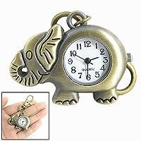 SODIAL(R) Reloj Llavero Colgante de Elefante Color Bronce Gancho de Langosta de SODIAL(R)