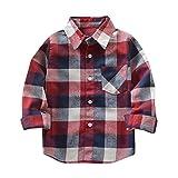 Sunenjoy Enfants Garçons Filles Manches longues Coton Plaid T-shirt Contrôles Tops Chemisier Automne Hiver Vêtements Tenues (8 ans, multicolor)