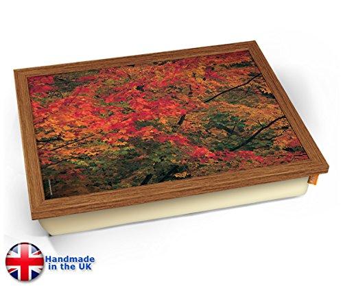 - Maple Leaves 2 Autumn Fall Cushion Lap Tray Kissen Tablett Knietablett Kissentablett - Holz Effekt Rahmen