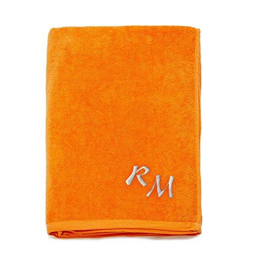 Asciugamano da spiaggia grande, 100% cotone, con monogramma ricamato (personalizzabile), 100% cotone, orange, 100cm x 180cm (39