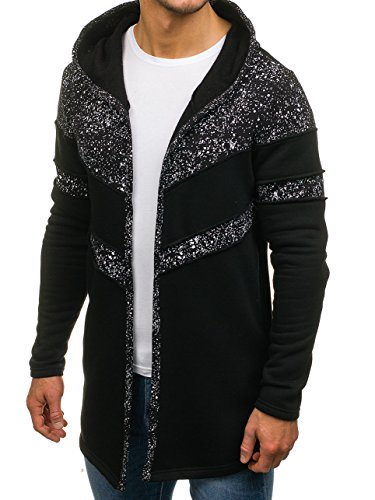 BOLF – Felpa con cappuccio – Senza chiusura – Sweat-shirt – Lunga – Uomo [1A1] Nero