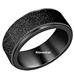 Moneekar Jewels Fashion Black Metal Stainless Steel Spinner Sand Blast Finish Ring