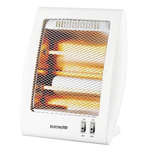 ELECTROTEK Quarz Heizstrahler ET-QH02, verfügt über 2 Temperaturstufen: 400 W/800 W. Schutzsystem im Westkipp-Helm des Ofens.