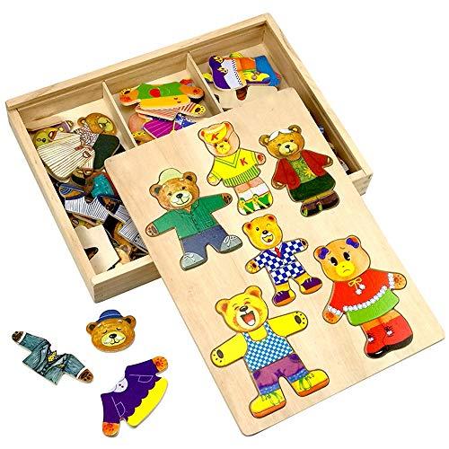 ZMH Tragen Sie Dress Up Holz Puzzle Spiel Happy Family frühe Lernspielzeug Set, Tier Dress-Up Spiel Kinder Pretend Play Kit Geschenk für Alter 2 3 4 5 6 Jahre Alter Junge Mädchen (Familie Dress Up)