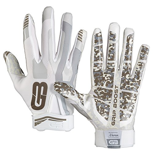 GRIP BOOST Stealth Football Gloves Pro Elite (Blanco, Youth Medium)