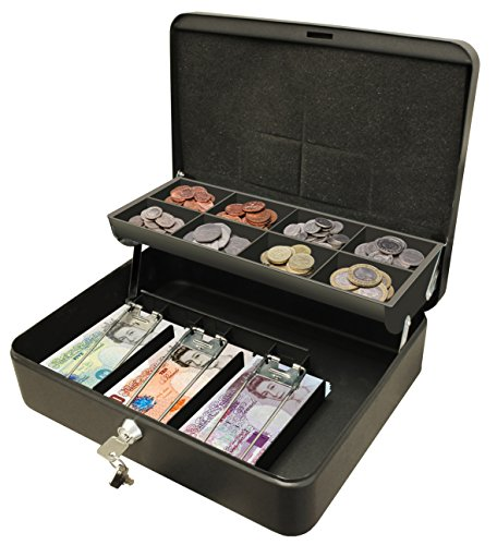Cathedral-Products-CBDLBK-12-Inch-The-Ultimate-Cash-Box-Secure-Lock-with-Coin-Tray-For-Petty-Cash-Black
