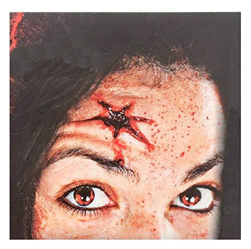 shoperama Professionelle 3D Horror Wunden Tattoo Schnittwunde Einschussloch Zombie verottende Haut Halloween Special FX Make-Up, Variante:Einschussloch