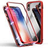 IPhone X Case, MR Mobile Hub Magnetic Adsorption Case Ultra Slim Metal Frame Tempered Glass With Built-in Magnet Flip Cover [Support Wireless Charging] For Apple IPhone X (Clear Red)