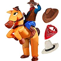 Tacobear Adult Inflatable Horse and Cowboy Costume Halloween Fancy Dress Blow Up Party Cosplay Costume Inflatable Cowboy Rider Costume with two Cowboy Hat and Cowboy Bandana