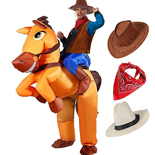 Tacobear Aufblasbare Pferd und Cowboy Kostüm für Erwachsene Aufblasbare Halloween Kostüm Fancy Dress Party Cosplay Kostüm Aufblasbare Cowboy Reiter Kostüm mit Cowboy Hut und Cowboy Bandana (Halloween Party Kostüme)