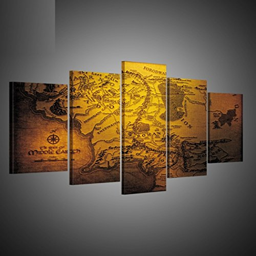 GY&H 5 Stücke von abstrakten Gemälden Karte von Europa Drucke auf Leinwand Wohnzimmer dekorative Malerei Wand Kunst Malerei,Size1