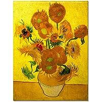 Wieco Art–Modern Abstract Flowers Giclee stampe su tela tesa e incorniciato opera vaso con quindici girasoli di Van Gogh dipinti ad olio riproduzione immagini su tela Wall Art for home Décor van-0015